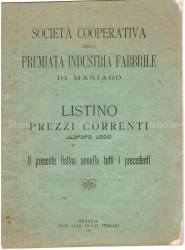 Listino prezzi 1896